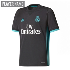 Adidas Real Madrid Away '17-'18 Youth Soccer Jersey (Black/Aero Reef)