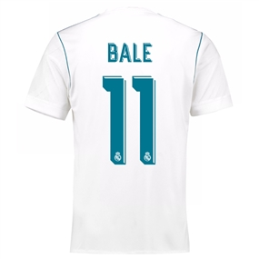 Adidas Youth Real Madrid 'BALE 11' Home '17-'18 Soccer Jersey (White/Vivid Teal)