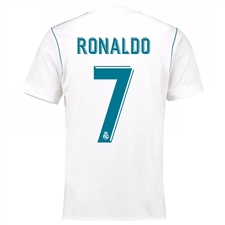Adidas Real Madrid 'RONALDO 7' Home '17-'18 Youth Soccer Jersey (White/Vivid Teal)