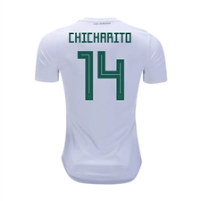 Adidas Youth Mexico 'CHICHARITO 14' Away Jersey '18-'19 (White/Collegiate Green/Burgundy)