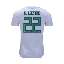 Adidas Youth Mexico 'H. LOZANO 8' Away Jersey '18-'19 (White/Collegiate Green/Burgundy)