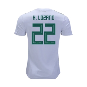 Adidas Youth Mexico 'H. LOZANO 22' Away Jersey '18-'19 (White/Collegiate Green/Burgundy)