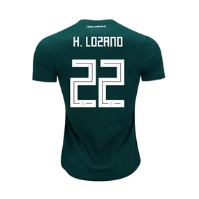 Adidas Youth Mexico 'H. LOZANO 8' Home Jersey '18-'19 (Collegiate Green/White)