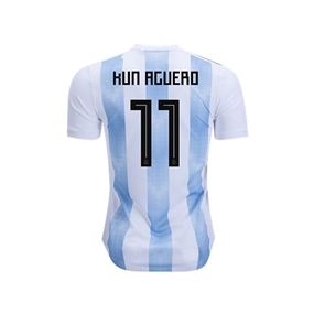 Adidas Youth Argentina 'AGUERO 11' Home Jersey '18-'19 (White/Clear Blue/Black)