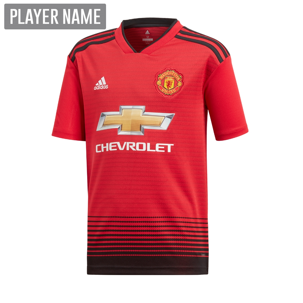 Adidas Youth Manchester United Home Jersey  18- 19 (Real Red Black ... 47313c946