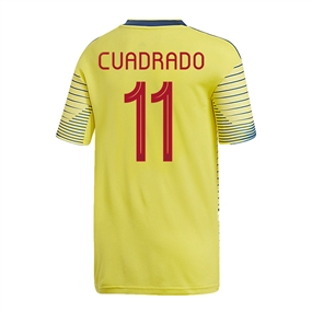 Adidas Youth Colombia 'CUADRADO 11' Home Jersey 2019 (Light Yellow/Night Marine)