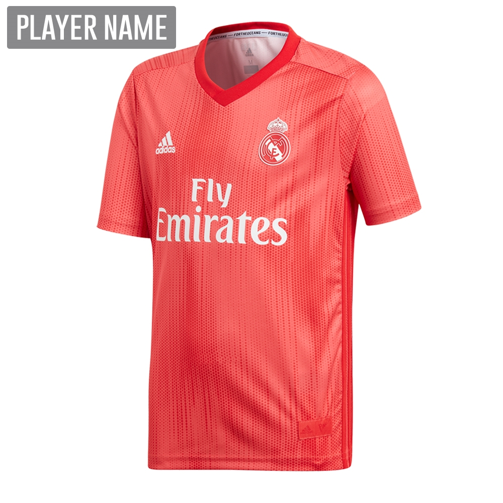 uk availability 71852 59a37 Adidas Youth Real Madrid Third Jersey '18-'19 (Real Coral/Vivid Red)