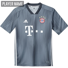 Adidas Youth Bayern Munich Third Jersey '18-'19 (Raw Steal/Utility Blue/White)