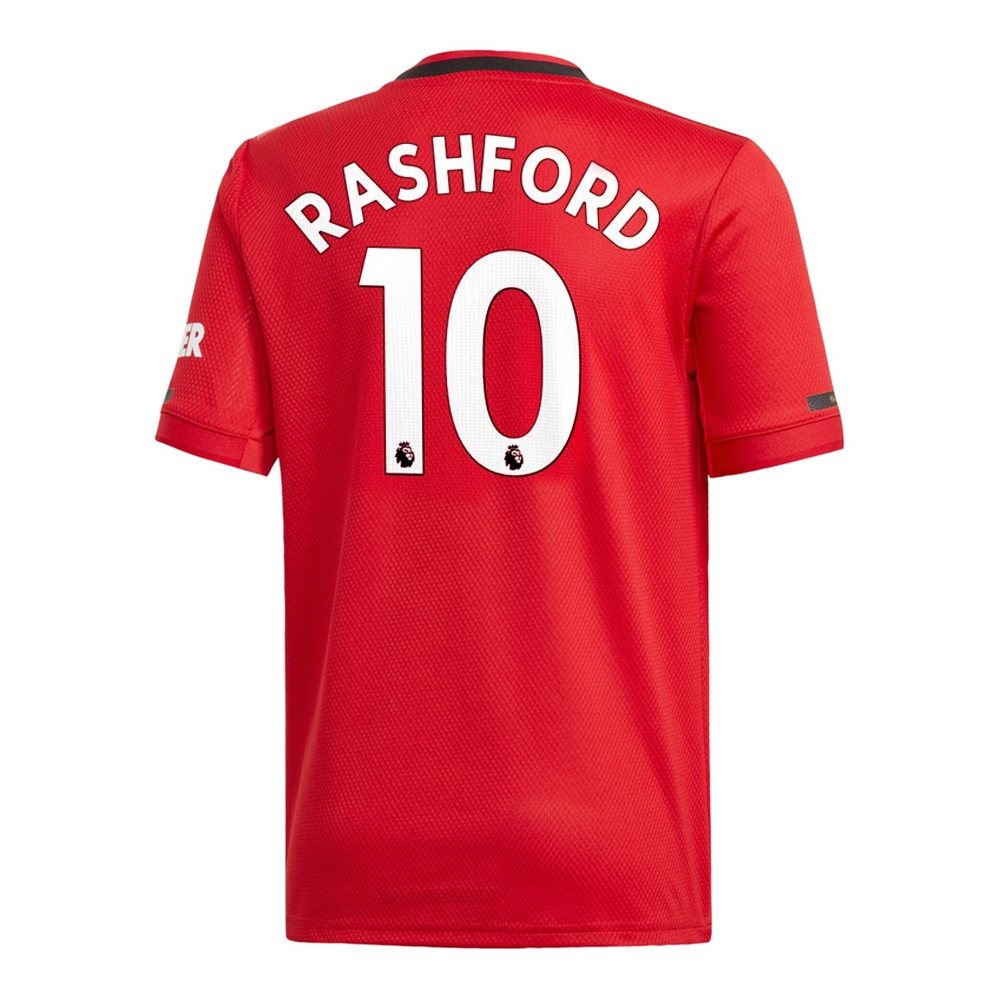 best service 24643 43fb6 Adidas Youth Manchester United 'RASHFORD 10' Home Jersey '19-'20 (Real Red)