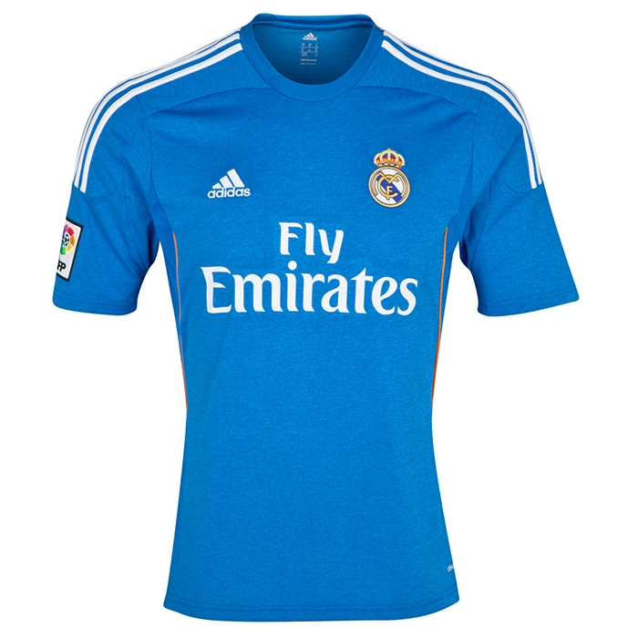 watch 61b62 d6a21 Adidas Real Madrid Away Youth '13-'14 Replica Soccer Jersey (Air Force  Blue/White/Light Orange))
