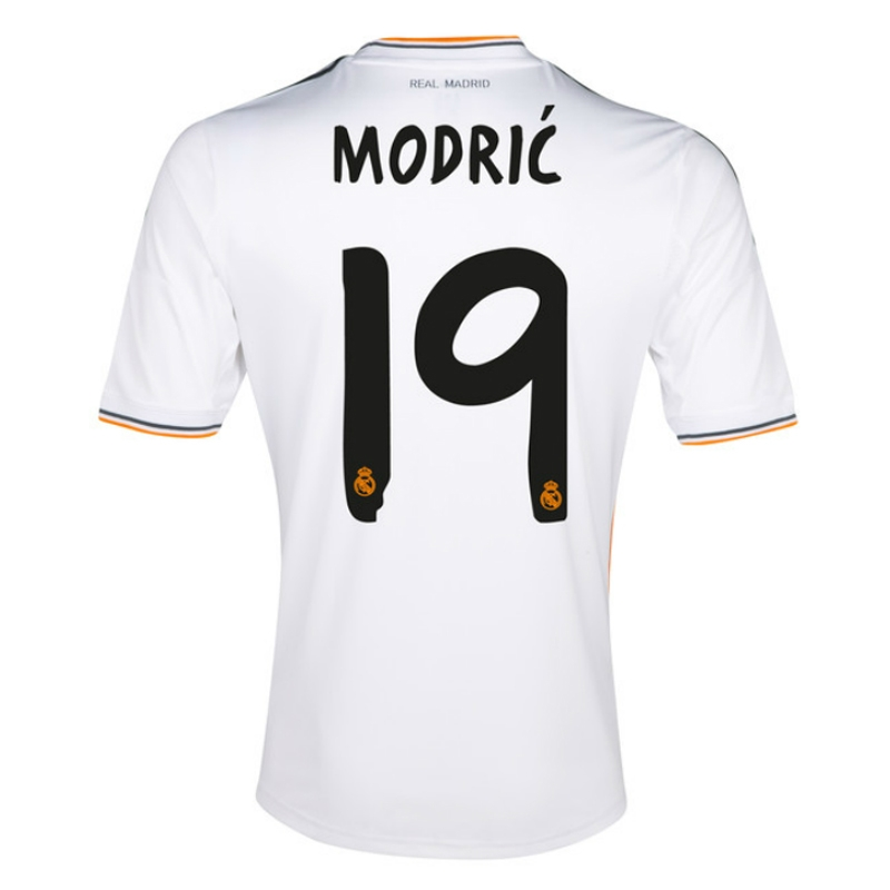 finest selection 79009 87aa8 Adidas Real Madrid Youth 'MODRIC 19' Home '13-'14 Replica Soccer Jersey  (White/Lead/Orange)