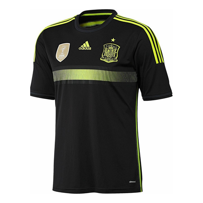 new styles d5b65 bd39f Adidas Spain Youth Away 2014 Soccer Jersey (Black/Electricity/Dark Shale)