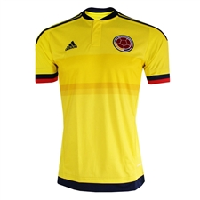 Adidas Colombia Youth Home 2015 Replica Soccer Jersey (Bright Yellow/Collegiate Navy)
