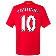 New Balance Youth Liverpool 'COUTINHO 10' Home '16-'17 Replica Soccer Jersey (Red)