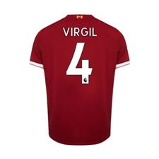 New Balance Youth Liverpool 'VIRGIL 4' Home '17-'18 Replica Soccer Jersey (Red)