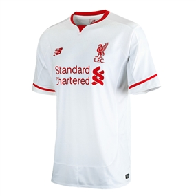 New Balance Liverpool Away Youth '15-'16 Replica Soccer Jersey (White/Red)