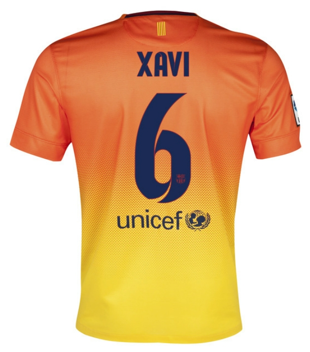 sports shoes dd7d5 4452a Nike FC Barcelona Youth 'XAVI 6' 2012-2013 Away Replica Soccer Jersey  (Safety Orange/Tour Yellow/Midnight Navy)