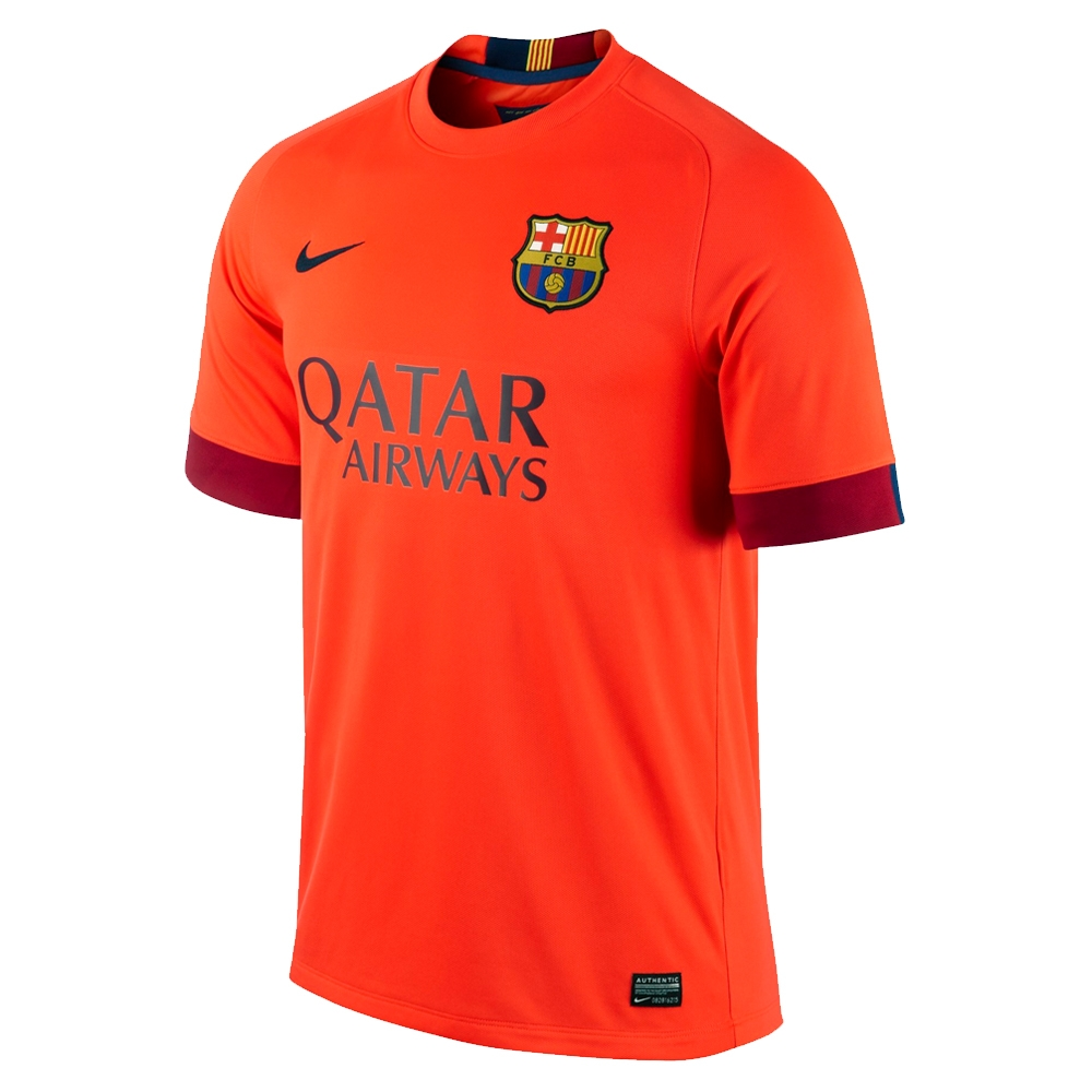 Nike FC Barcelona Away  14- 15 Youth Replica Soccer Jersey (Bright  Crimson Noble Red Loyal Blue)  5c4977c38