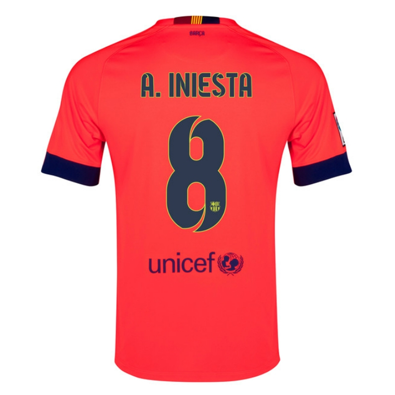 Nike FC Barcelona  A. INIESTA 8  Away  14- 15 Youth Replica Soccer Jersey  (Bright Crimson Noble Red Loyal Blue)  a2d9774b766