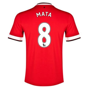 Nike Manchester United 'MATA 8' Home '14-'15 Youth Replica Soccer Jersey (Diablo Red/Football White)