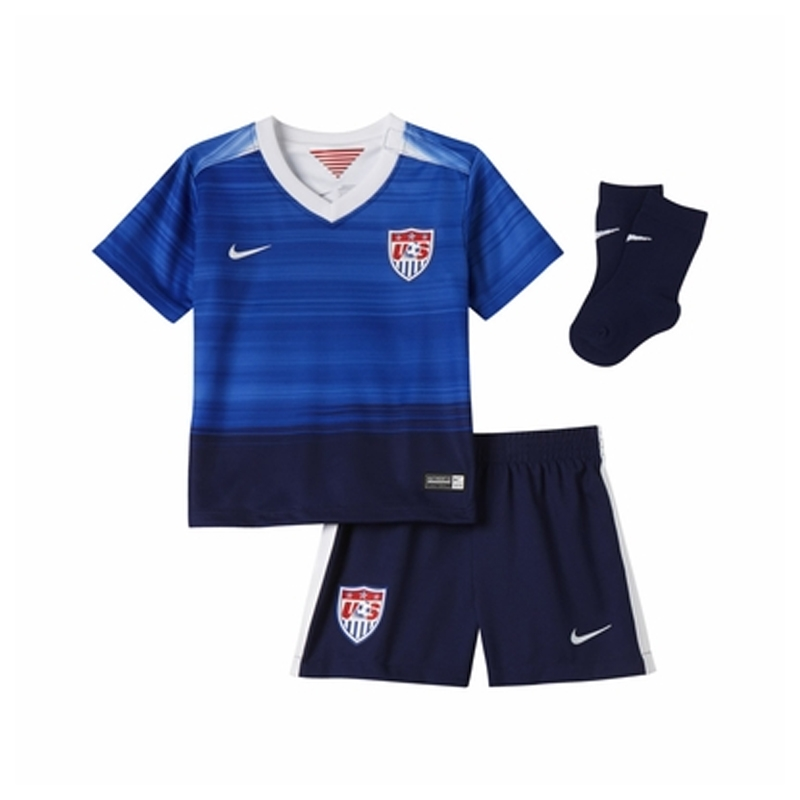 53a399fe6d4  64.99 Add to Cart for Price - Nike USA Away Infant 2015 Soccer Kit (Game  Royal Loyal Blue White)