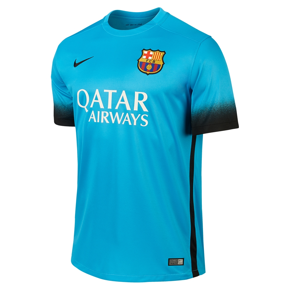 74.99 Add to Cart for Price - Nike FC Barcelona 3rd  15- 16 Youth Soccer  Jersey (Light Current Blue Black)  358e1d2d1