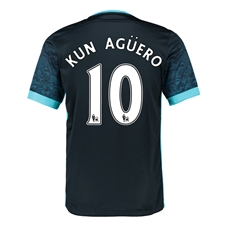 Nike Manchester City Youth 'KUN AGUERO 10' Away '15-'16 Soccer Stadium Jersey (Dark Obsidian/Blue Force/Chlorine)