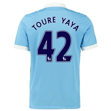 Nike Manchester City Youth 'TOURE YAYA 42' Home '15-'16 Soccer Stadium Jersey (Field Blue/White/Obsidian)