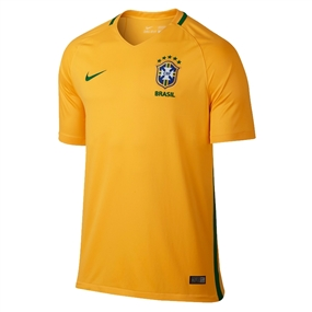 Nike Youth Brasil 2016 Stadium Home Soccer Jersey (Varsity Maize/Pine Green)