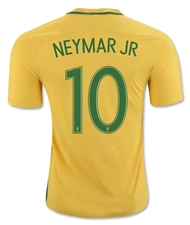 Nike Youth Brasil 2016 'NEYMAR 10' Stadium Home Soccer Jersey (Varsity Maize/Pine Green)