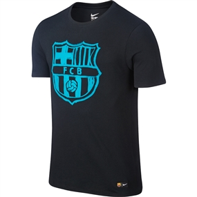 Nike Youth FC Barcelona Crest Tee Shirt (Black/Energy)