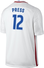 Nike USA 2016 OLYMPIC RIO 'PRESS 12' Youth Soccer Jersey (White/Royal/Red)