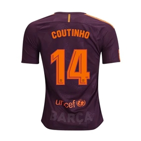 Nike FC Barcelona Youth 'COUTINHO' '17-'18 Third Soccer Jersey (Night Maroon/Hyper Crimson)
