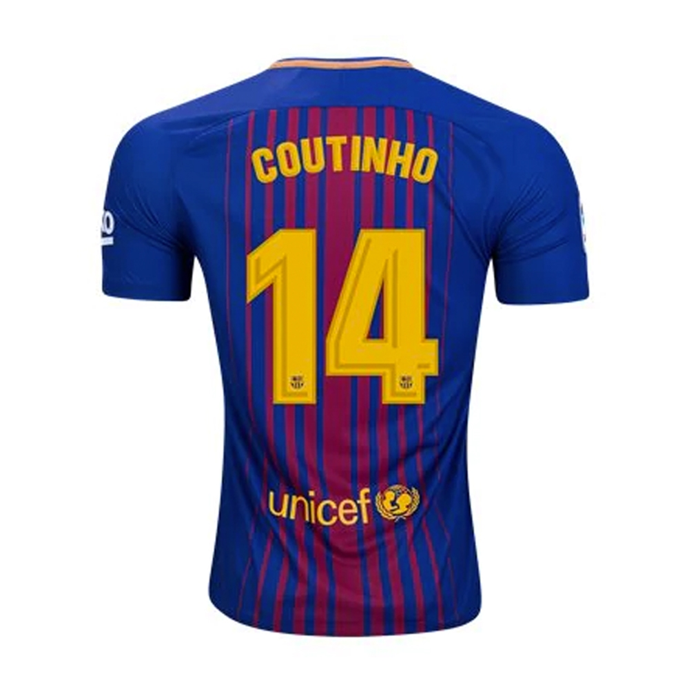 new concept e5866 cbe17 Nike FC Barcelona 'COUTINHO' '17-'18 Youth Home Soccer Jersey (Deep Royal  Blue/University Gold)