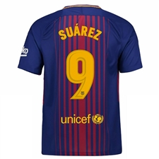 Nike FC Barcelona 'SUAREZ 9' '17-'18 Youth Home Soccer Jersey (Deep Royal Blue/University Gold)
