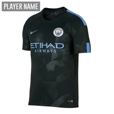 Nike Youth Manchester City Third '17-'18 Stadium Soccer Jersey (Outdoor Green/Field Blue)