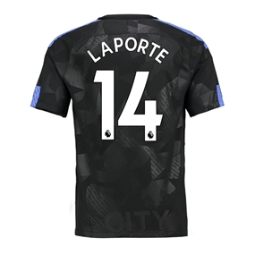 Nike Youth Manchester City 'LAPORTE 14' Third '17-'18 Stadium Soccer Jersey (Outdoor Green/Field Blue)