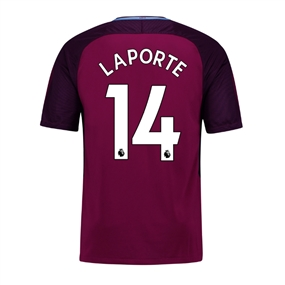 Nike Manchester City Youth 'LAPORTE 14' Away '17-'18 Soccer Jersey (True Berry/White)