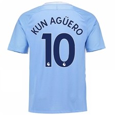 Nike Youth Manchester City 'KUN AGUERO 10' Home '17-'18 Stadium Soccer Jersey (Field Blue/Midnight Navy)