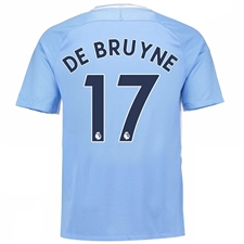 Nike Youth Manchester City 'DE BRUYNE 17' Home '17-'18 Stadium Soccer Jersey (Field Blue/Midnight Navy)
