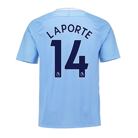 Nike Youth Manchester City 'LAPORTE 14' Home '17-'18 Stadium Soccer Jersey (Field Blue/Midnight Navy)