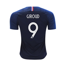 Nike Youth France 'GIROUD 9' Home Stadium Jersey '18-'19 (Obsidian/White)