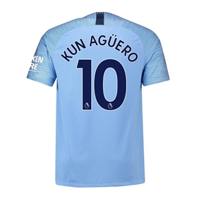 Nike Youth Manchester City 'KUN AGUERO 10' Home Stadium Jersey '18-'19 (Field Blue/Midnight Navy)