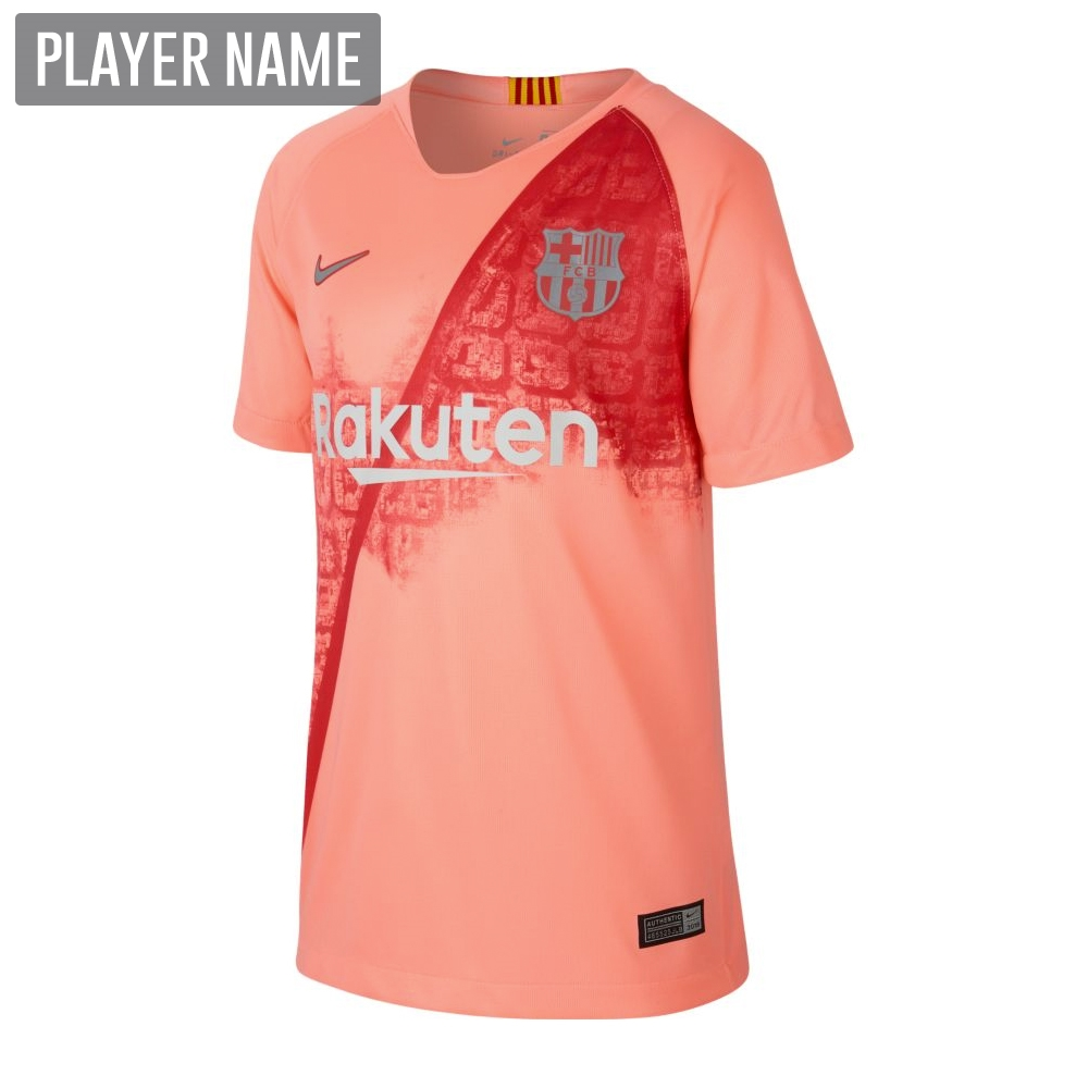 83f9a6a09 Nike Youth FC Barcelona Third Stadium Jersey  18- 19 (Light Atomic  Pink Silver Logo)