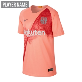 Nike Youth FC Barcelona Third Stadium Jersey '18-'19 (Light Atomic Pink/Silver Logo)
