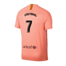 Nike Youth FC Barcelona 'COUTINHO 7' Third Stadium Jersey '18-'19 (Light Atomic Pink/Silver Logo)