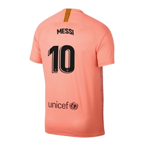 Nike Youth FC Barcelona 'MESSI 10' Third Stadium Jersey '18-'19 (Light Atomic Pink/Silver Logo)