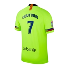 Nike Youth FC Barcelona 'COUTINHO 7' Away Stadium Jersey '18-'19 (Volt/Deep Royal Blue)