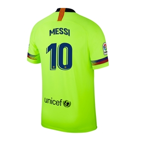 Nike Youth FC Barcelona 'MESSI 10' Away Stadium Jersey '18-'19 (Volt/Deep Royal Blue)