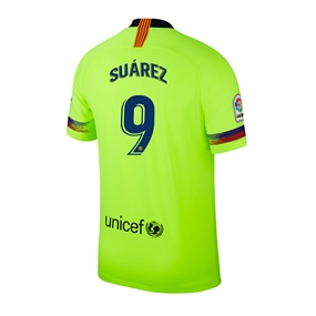 Nike Youth FC Barcelona 'SUAREZ 9' Away Stadium Jersey '18-'19 (Volt/Deep Royal Blue)